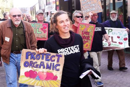 photo courtesy Dave Chapman Protesting Farmers March for Keeping Soil in Organics