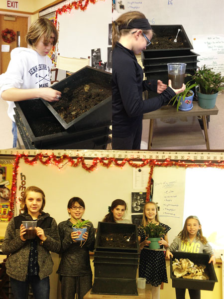 Fifth grade students show their worm composting results!