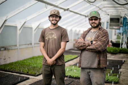 Allan Gandelman (left) and Bob Cat (right) in one of their high tunnels.