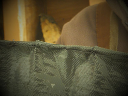 Close-up of the sewn fabric covering