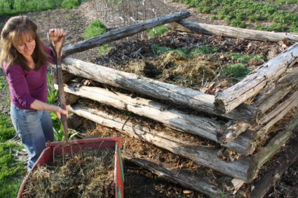 Stacked-log composting
