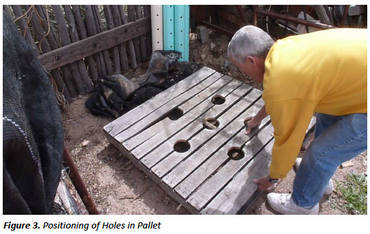 figure 3. Positioning of holes in pallet