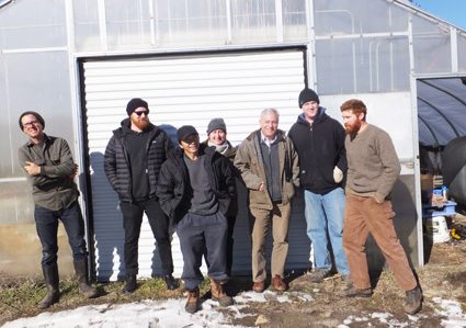 Key players gather at Urban Edge Farm (UEF). From left to right: John Kenney (long term Urban Edge farmer who is just now buying his own land and planning a transition away from the farm), Rob Booz (Community Gardens Coordinator for the Southside Community Land Trust (SCLT) which leases the farm from the state and subleases it to the farmers), Choua Xiong (long term farmer who, along with his brother and sister-in-law were among the founding UEF tenants), Christina Dedora (long term UEF farmer who has developed an herb and flower business there), Ken Ayars (chief of the state's Division of Agriculture), Pat McNiff (SCLT program director at the time of the purchase and now a private farmer on rented land), and Ben Torpey, (UEF farmer and host of gathering).