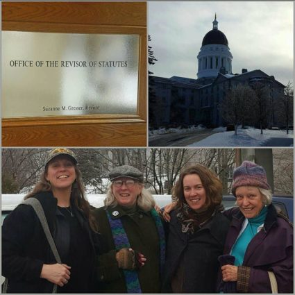 Nikki Sekara, Betsy Garrold, Heather Retberg and Bonnie Preston at the Maine State Legislature on the day the Food Sovereignty Act was written.