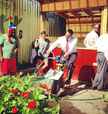 Somerville mayor Curtatone tries out bike-powered water pump