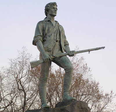 Minuteman Statue on the green in Lexington, Massachusetts