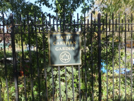 City sign hangs on the fence surrounding the garden