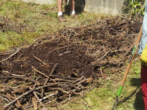 "We are making a planting garden bed perhaps 4' wide by about 10' long . David uses a ""lasagna"" or ""sheet layering"" style, adding thin layers of various materials that will allow microbes and minerals to blend rapidly together. He starts with a layer of sticks and coarse, rotten woody debris right on the ground. This will provide plenty of air spaces at the base, as well as a substrate guaranteed to attract and feed fungi. Here, the layer of sticks is in place and we are covering it with wood chips."