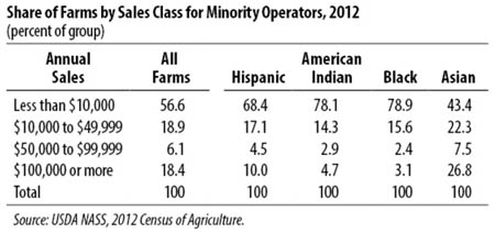 share of farms by sales class fror minorities 2012